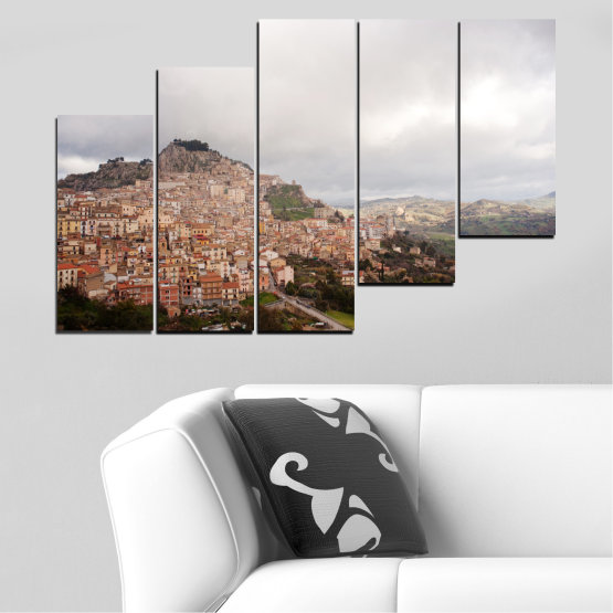 Canvas prints & wall decorative panels - 5 pieces №0124 » Brown, Gray, White, Dark grey » Landscape, Europe, Nicosia Form #8