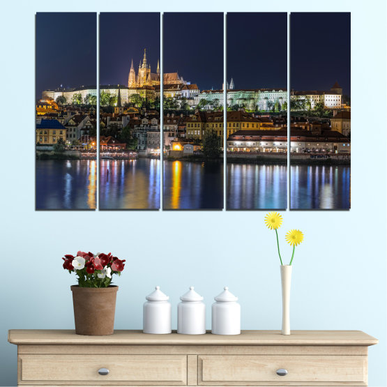 Canvas prints & wall decorative panels - 5 pieces №0125 » Brown, Black, Gray, Dark grey » City, Night, Capital, Czech republic Form #2