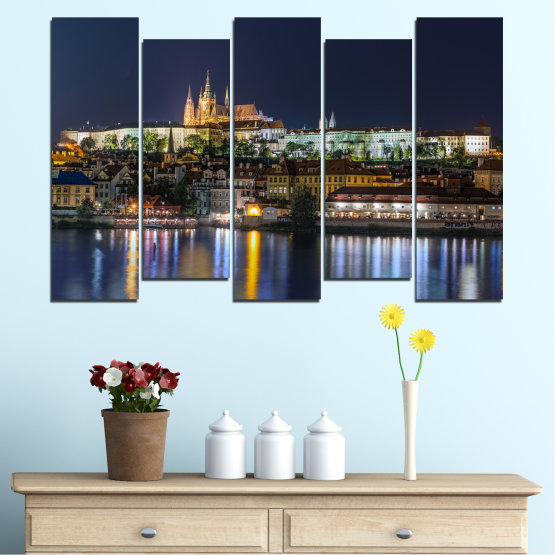 Canvas prints & wall decorative panels - 5 pieces №0125 » Brown, Black, Gray, Dark grey » City, Night, Capital, Czech republic Form #3