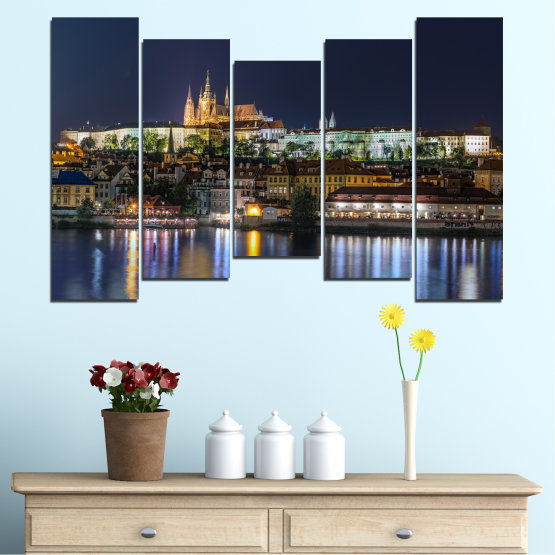 Canvas prints & wall decorative panels - 5 pieces №0125 » Brown, Black, Gray, Dark grey » City, Night, Capital, Czech republic Form #4