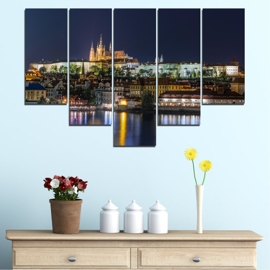 Canvas prints & wall decorative panels - 5 pieces №0125 » Brown, Black, Gray, Dark grey » City, Night, Capital, Czech republic Form #6