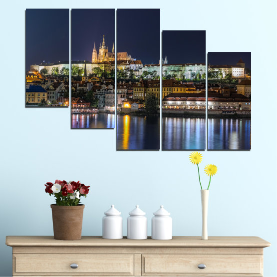 Canvas prints & wall decorative panels - 5 pieces №0125 » Brown, Black, Gray, Dark grey » City, Night, Capital, Czech republic Form #7
