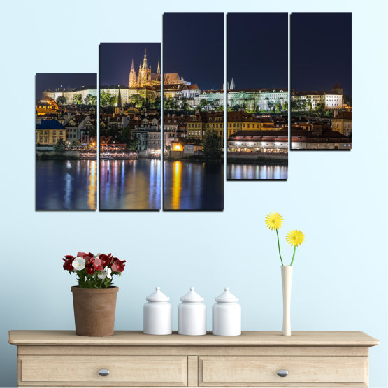 Canvas prints & wall decorative panels - 5 pieces №0125 » Brown, Black, Gray, Dark grey » City, Night, Capital, Czech republic Form #8