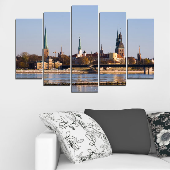 Canvas prints & wall decorative panels - 5 pieces №0126 » Brown, Black, Gray, Dark grey » River, Castle, Europe, Riga Form #1