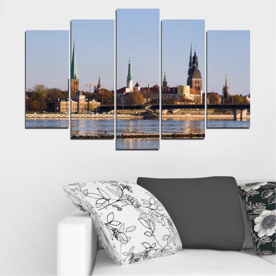 Декоративни панели и картини от канава - от 5 части №0126 » Кафяв, Черен, Сив, Тъмно сив » Река, Замък, Европа, Рига Form #1