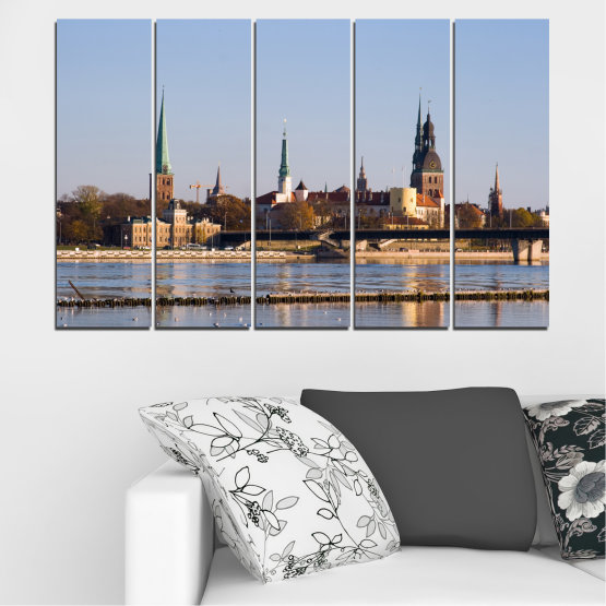 Canvas prints & wall decorative panels - 5 pieces №0126 » Brown, Black, Gray, Dark grey » River, Castle, Europe, Riga Form #2
