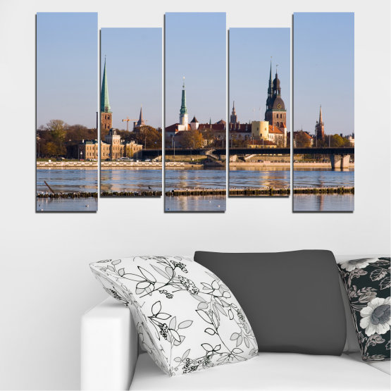 Canvas prints & wall decorative panels - 5 pieces №0126 » Brown, Black, Gray, Dark grey » River, Castle, Europe, Riga Form #3