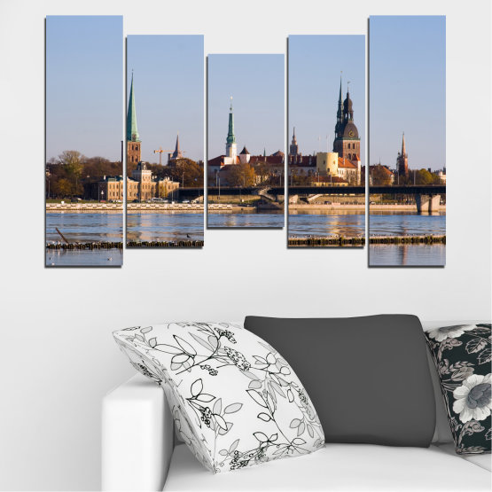 Canvas prints & wall decorative panels - 5 pieces №0126 » Brown, Black, Gray, Dark grey » River, Castle, Europe, Riga Form #4