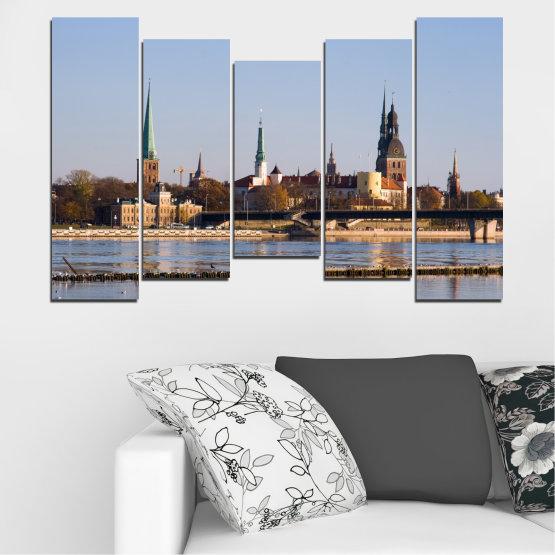 Декоративни панели и картини от канава - от 5 части №0126 » Кафяв, Черен, Сив, Тъмно сив » Река, Замък, Европа, Рига Form #4