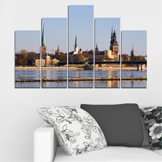 Canvas prints & wall decorative panels - 5 pieces №0126 » Brown, Black, Gray, Dark grey » River, Castle, Europe, Riga Form #5