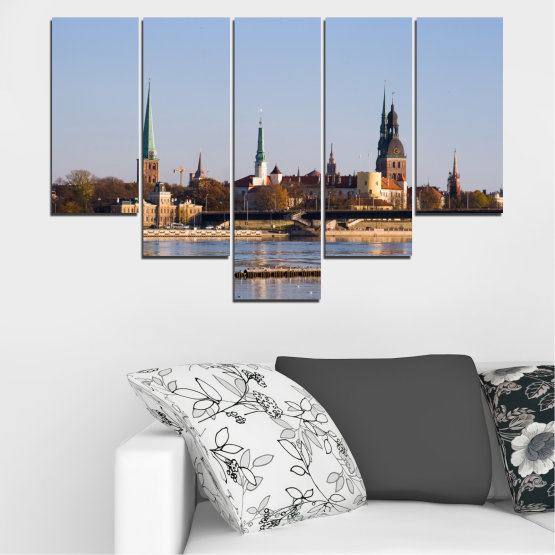 Canvas prints & wall decorative panels - 5 pieces №0126 » Brown, Black, Gray, Dark grey » River, Castle, Europe, Riga Form #6
