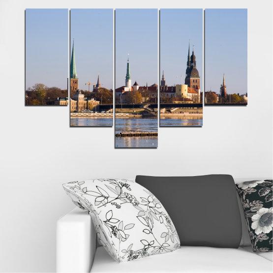 Декоративни панели и картини от канава - от 5 части №0126 » Кафяв, Черен, Сив, Тъмно сив » Река, Замък, Европа, Рига Form #6