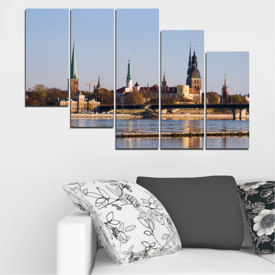 Canvas prints & wall decorative panels - 5 pieces №0126 » Brown, Black, Gray, Dark grey » River, Castle, Europe, Riga Form #7