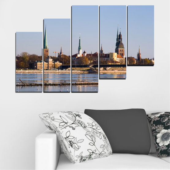 Canvas prints & wall decorative panels - 5 pieces №0126 » Brown, Black, Gray, Dark grey » River, Castle, Europe, Riga Form #8