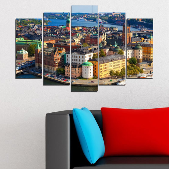 Canvas prints & wall decorative panels - 5 pieces №0127 » Brown, Black, Gray, Dark grey » City, Capital, Sweden Form #1