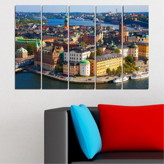 Canvas prints & wall decorative panels - 5 pieces №0127 » Brown, Black, Gray, Dark grey » City, Capital, Sweden Form #2