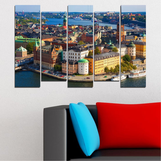 Canvas prints & wall decorative panels - 5 pieces №0127 » Brown, Black, Gray, Dark grey » City, Capital, Sweden Form #3