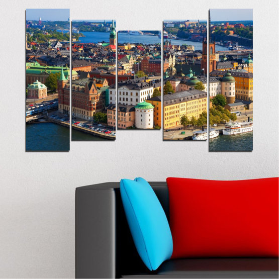 Canvas prints & wall decorative panels - 5 pieces №0127 » Brown, Black, Gray, Dark grey » City, Capital, Sweden Form #4