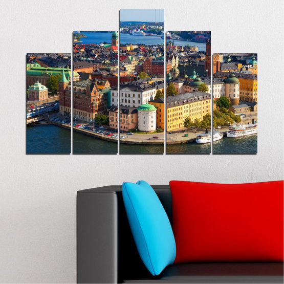 Canvas prints & wall decorative panels - 5 pieces №0127 » Brown, Black, Gray, Dark grey » City, Capital, Sweden Form #5