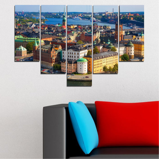 Canvas prints & wall decorative panels - 5 pieces №0127 » Brown, Black, Gray, Dark grey » City, Capital, Sweden Form #6