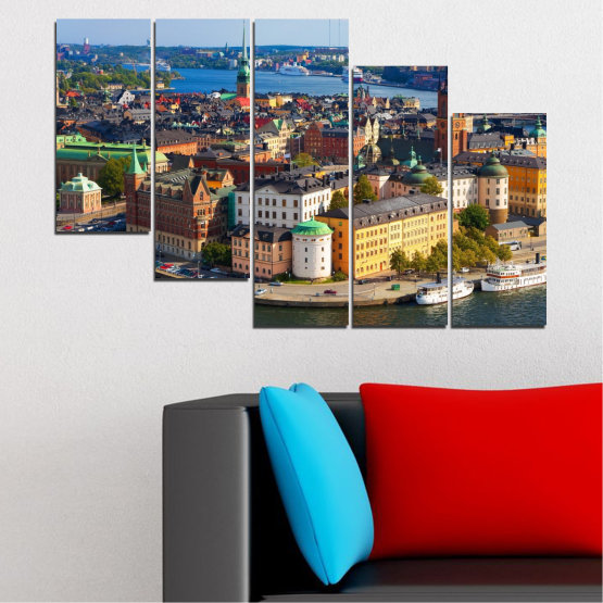 Canvas prints & wall decorative panels - 5 pieces №0127 » Brown, Black, Gray, Dark grey » City, Capital, Sweden Form #7