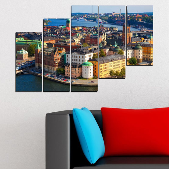 Canvas prints & wall decorative panels - 5 pieces №0127 » Brown, Black, Gray, Dark grey » City, Capital, Sweden Form #8