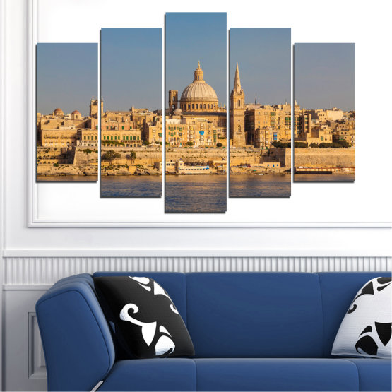 Canvas prints & wall decorative panels - 5 pieces №0129 » Green, Yellow, Brown, Gray, Dark grey » City, Water, Capital, Malta Form #1