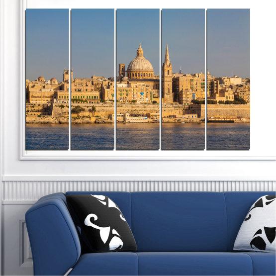 Canvas prints & wall decorative panels - 5 pieces №0129 » Green, Yellow, Brown, Gray, Dark grey » Water, City, Capital, Malta Form #2