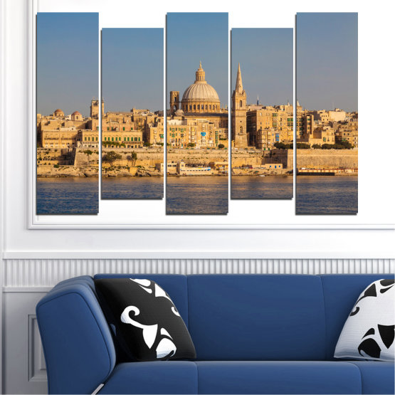 Canvas prints & wall decorative panels - 5 pieces №0129 » Green, Yellow, Brown, Gray, Dark grey » City, Water, Capital, Malta Form #3