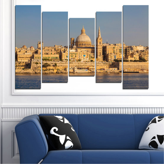 Canvas prints & wall decorative panels - 5 pieces №0129 » Green, Yellow, Brown, Gray, Dark grey » City, Water, Capital, Malta Form #4