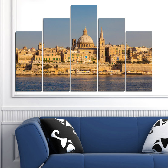 Canvas prints & wall decorative panels - 5 pieces №0129 » Green, Yellow, Brown, Gray, Dark grey » City, Water, Capital, Malta Form #5