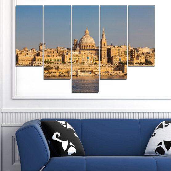 Canvas prints & wall decorative panels - 5 pieces №0129 » Green, Yellow, Brown, Gray, Dark grey » City, Water, Capital, Malta Form #6