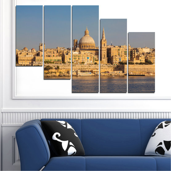Canvas prints & wall decorative panels - 5 pieces №0129 » Green, Yellow, Brown, Gray, Dark grey » City, Water, Capital, Malta Form #7