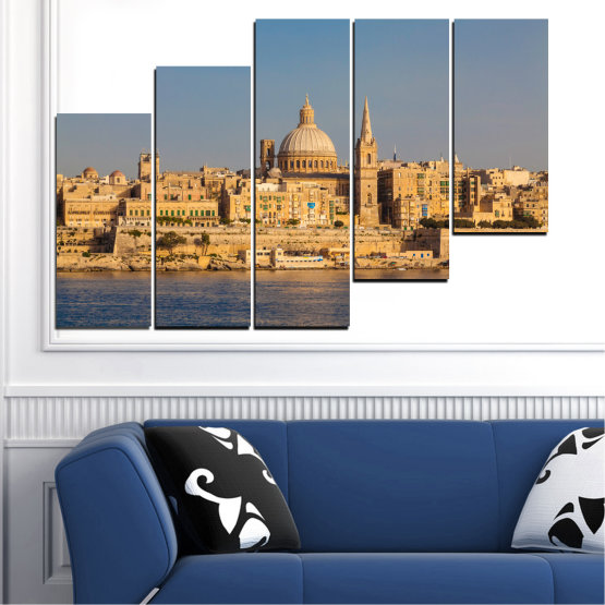 Canvas prints & wall decorative panels - 5 pieces №0129 » Green, Yellow, Brown, Gray, Dark grey » City, Water, Capital, Malta Form #8