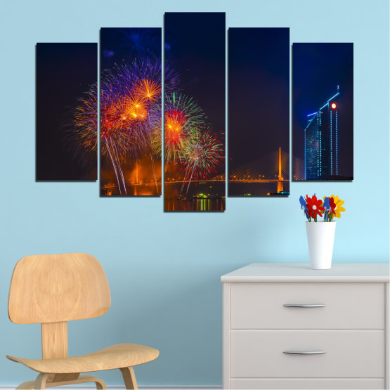Canvas prints & wall decorative panels - 5 pieces №0013 » Red, Brown, Black, Dark grey » City, Night, Fireworks Form #1