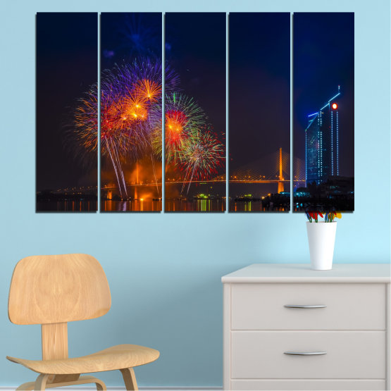 Canvas prints & wall decorative panels - 5 pieces №0013 » Red, Brown, Black, Dark grey » City, Night, Fireworks Form #2