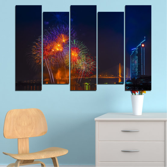 Canvas prints & wall decorative panels - 5 pieces №0013 » Red, Brown, Black, Dark grey » City, Night, Fireworks Form #3