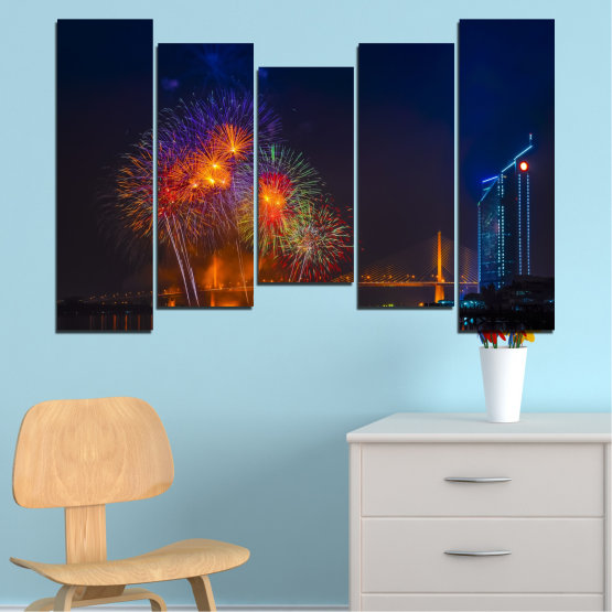 Canvas prints & wall decorative panels - 5 pieces №0013 » Red, Brown, Black, Dark grey » City, Night, Fireworks Form #4