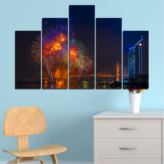 Canvas prints & wall decorative panels - 5 pieces №0013 » Red, Brown, Black, Dark grey » City, Night, Fireworks Form #5