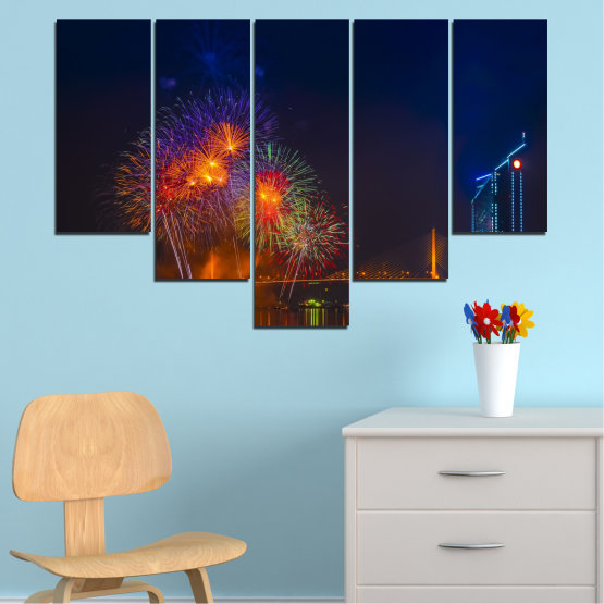 Canvas prints & wall decorative panels - 5 pieces №0013 » Red, Brown, Black, Dark grey » City, Night, Fireworks Form #6