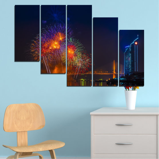 Canvas prints & wall decorative panels - 5 pieces №0013 » Red, Brown, Black, Dark grey » City, Night, Fireworks Form #7