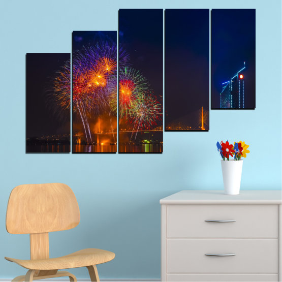 Canvas prints & wall decorative panels - 5 pieces №0013 » Red, Brown, Black, Dark grey » City, Night, Fireworks Form #8