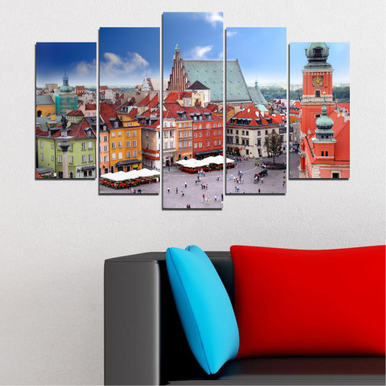 Canvas prints & wall decorative panels - 5 pieces №0131 » Blue, Gray, Dark grey » City, Capital, Austria Form #1