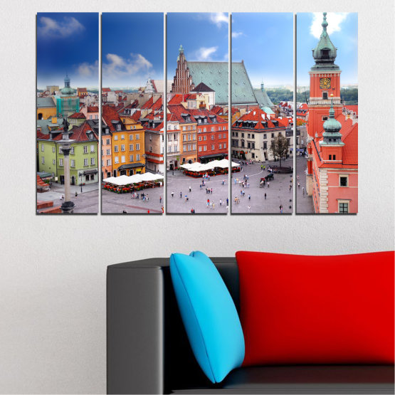 Canvas prints & wall decorative panels - 5 pieces №0131 » Blue, Gray, Dark grey » City, Capital, Austria Form #2