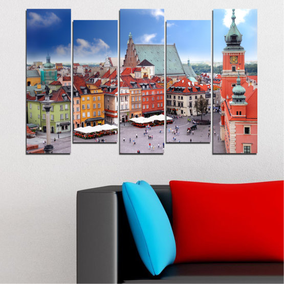 Canvas prints & wall decorative panels - 5 pieces №0131 » Blue, Gray, Dark grey » City, Capital, Austria Form #3