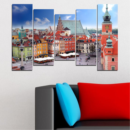 Canvas prints & wall decorative panels - 5 pieces №0131 » Blue, Gray, Dark grey » City, Capital, Austria Form #4