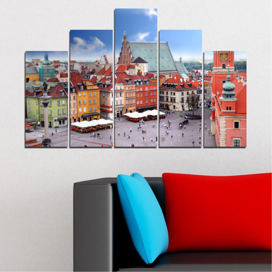 Canvas prints & wall decorative panels - 5 pieces №0131 » Blue, Gray, Dark grey » City, Capital, Austria Form #5