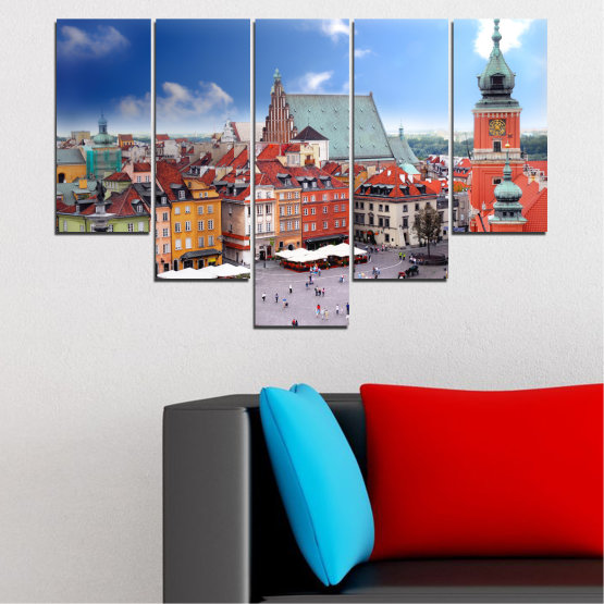 Canvas prints & wall decorative panels - 5 pieces №0131 » Blue, Gray, Dark grey » City, Capital, Austria Form #6