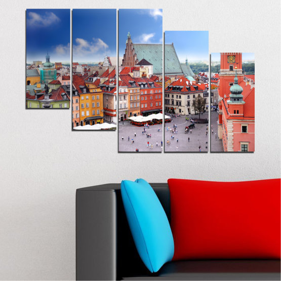 Canvas prints & wall decorative panels - 5 pieces №0131 » Blue, Gray, Dark grey » City, Capital, Austria Form #7