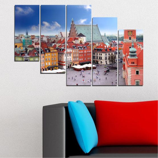 Декоративни панели и картини от канава - от 5 части №0131 » Син, Сив, Тъмно сив » Град, Столица, Австрия Form #7